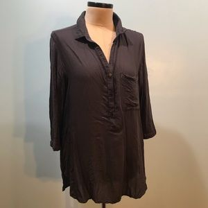 Anthro Cloth & Stone Rayon Charcoal Tunic Top L